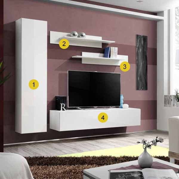 Asm Meuble Tv Mural Laque Blanc Compact Fly G1 200 X 40 X 180cm