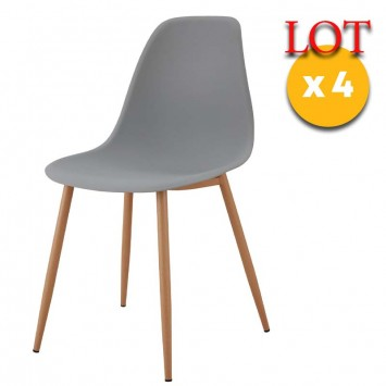 lot 4 chaises scandinaves gris